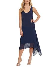 Mixed-Media Midi Dress