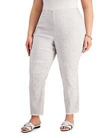 Alfani Plus Size Printed Fringed-Hem Ankle Pants, Created for Macy's