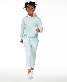 Big Girls Tie Dye Printed Blue Hoodie & Sweatpants, Created for Macy's