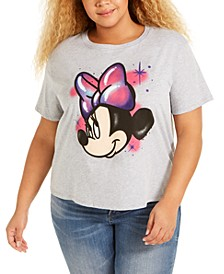 Trendy Plus Size Cotton Minnie Mouse Cropped Graphic T-Shirt