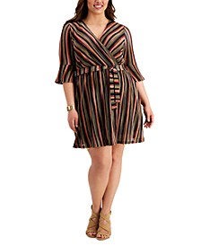 Plus Size Striped Wrap Dress
