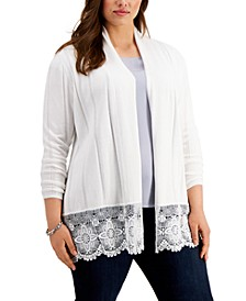 Plus Size Lace-Hem Cardigan