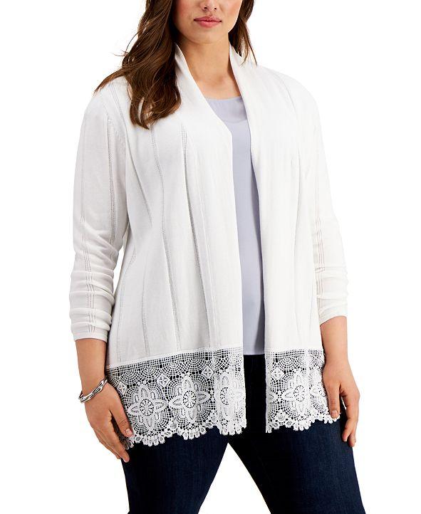 Belldini Plus Size Lace-Hem Cardigan