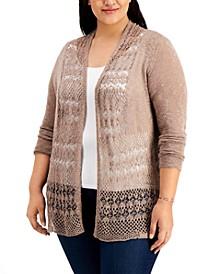 Plus Size Open-Knit Cardigan