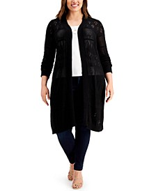 Plus Size Pointelle Open-Front Cardigan Sweater