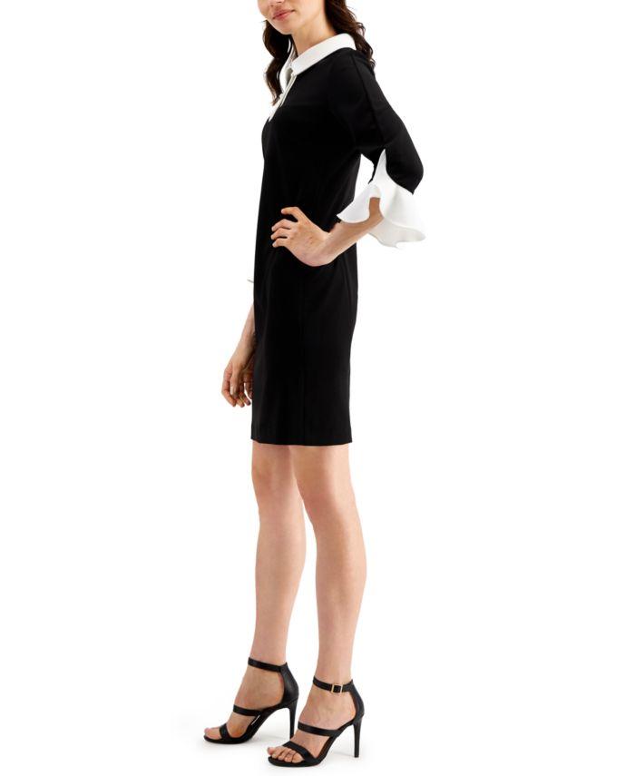 Karl Lagerfeld Paris Karl Lagerfeld Bell-Sleeve Sheath Dress & Reviews - Dresses - Women - Macy's