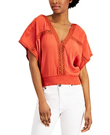Juniors' Crochet-Trim Top
