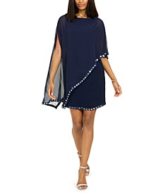Embellished Cape-Overlay Sheath Dress