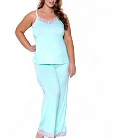 Women's Alluring Knit Ultra Soft Contrast Lace Cami Pant Set
