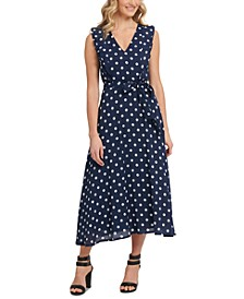 Belted Polka Dot Midi Dress