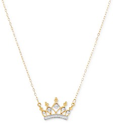 "Two-Tone Crown 18"" Pendant Necklace in 10k Gold"