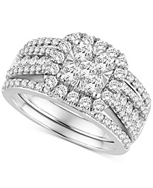Diamond 3-Pc. Bridal Set (2 ct. t.w.) in 14k White Gold