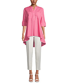 Anne Klein Linen Front-Pocket Tunic