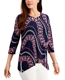Petite Grommet-Neck Printed Tunic, Created for Macy's