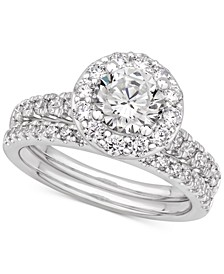 Certified Diamond Halo Bridal Set (2 ct. t.w.) in 14k White Gold