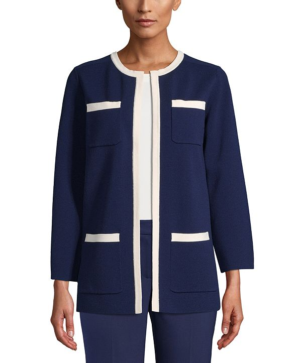 Anne Klein Tipped Patch-Pocket Cardigan