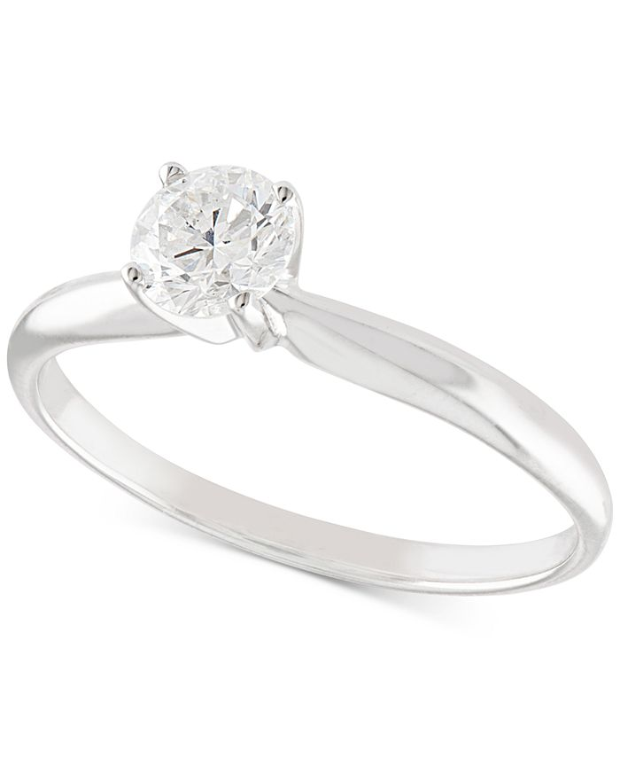 Macy's - Certified Diamond Solitaire Engagement Ring (1/2 ct. t.w.) in 14K White or Yellow Gold