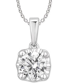 "Certified Diamond 18"" Pendant Necklace (1/2 ct. t.w.) in 14k White Gold"