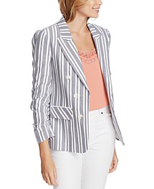 Plus Size Canvas Striped Ruched-Sleeve Blazer