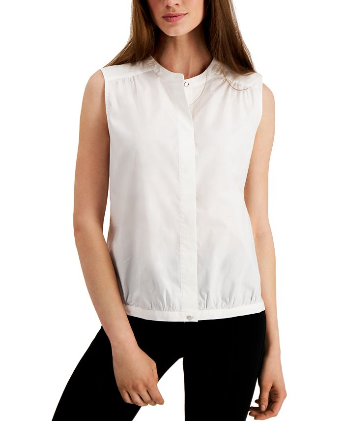 Alfani - Mandarin-Collar Bubble Shirt