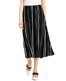 Petite Striped Comfort-Waist Midi Skirt, Created for Macy's