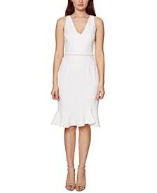 Petite Imitation-Pearl Flounce Dress