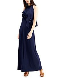 Ruffled Embellished Maxi Dress
