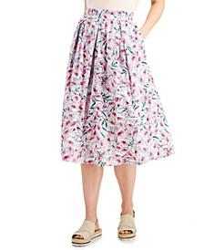 Floral-Print Cotton Midi Skirt