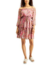 Paisley Off-The-Shoulder Tiered Dress