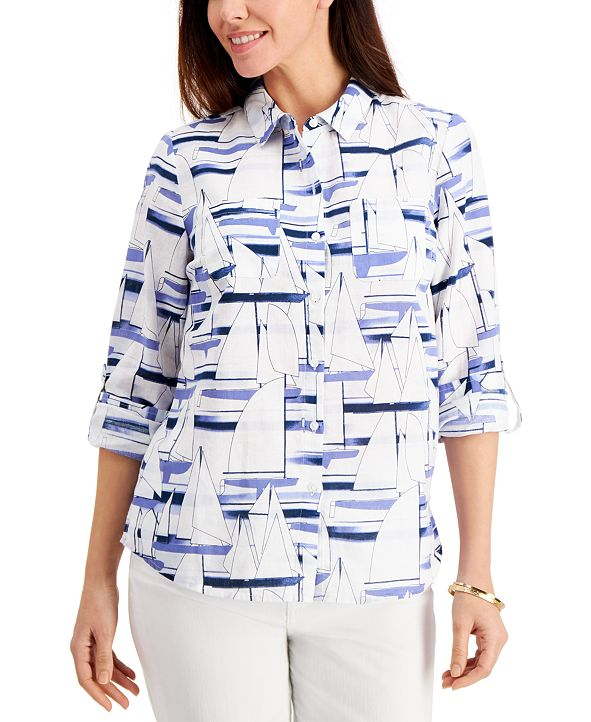 Charter Club Plus Size Sailboat Print Shirt, Created for Macy's