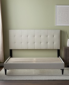 Upholstered Platform Bed Frame with Square Tufted Headboard, Twin