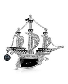 Enamel Galleon Ship Brooch Pin