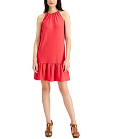 Chain Ruffled Halter Dress, Regular & Petite Sizes