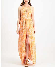 Petite Printed Keyhole Maxi Dress