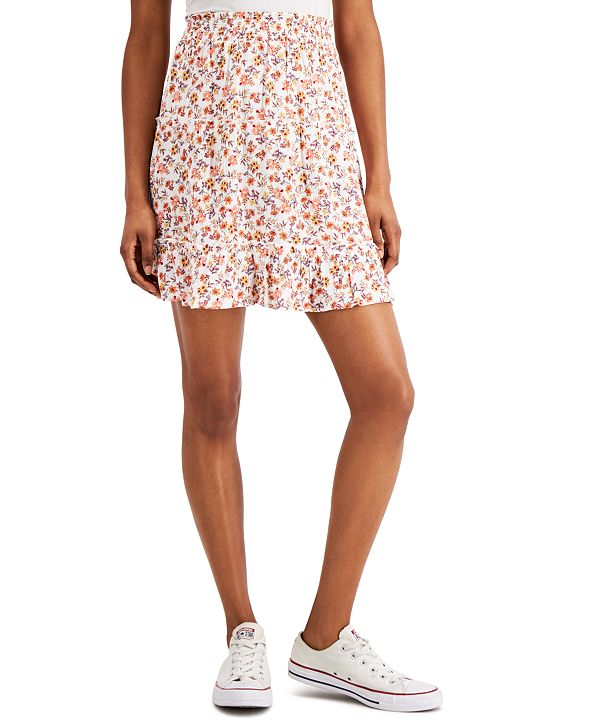 Hippie Rose Juniors' Printed Smocked-Waist Mini Skirt