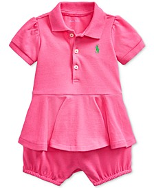 Baby Girls Peplum Cotton Bubble Shortall