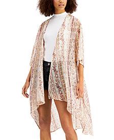 Gypsies & Moondust Juniors' Foil-Printed High-Low Kimono