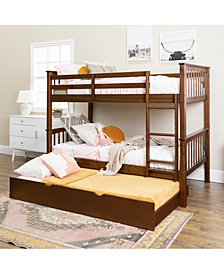 Walker Edison Mission Bunk Bed with Trundle, Twin Size