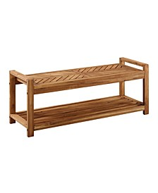"48"" Chevron Acacia Wood Outdoor Patio Storage Bench"