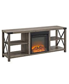 "60"" Farmhouse Metal X Fireplace Console"