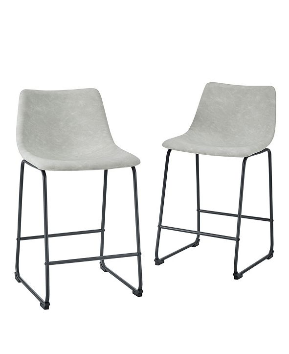 "Walker Edison 26"" Faux Leather Counter Stool, Set of 2"