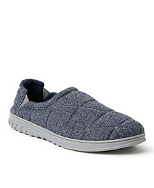 Heathered Knit Quilted Closed Back Slipper