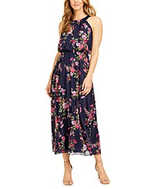 Petite Floral-Print Maxi Halter Dress With Shine