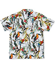Men's Flock Bird Print Woven Short Sleeve Shirt