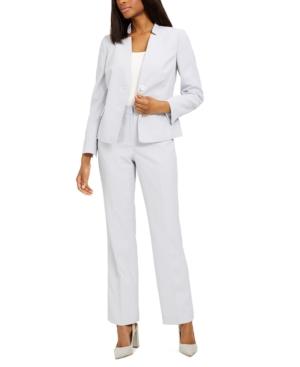 Textured Star-Collar Pants Suit