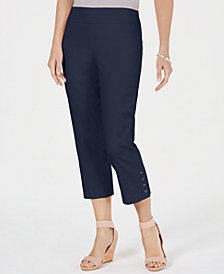 JM Collection Button-Hem Tummy-Control Capris, Created for Macy's