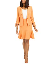 Ruffle-Trim Skirt Suit