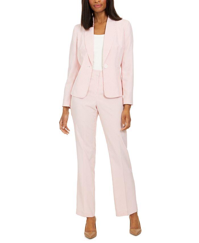 Le Suit - Petite Pinstripe Pantsuit