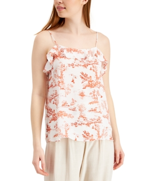 Printed Toile Ruffled Camisole Top