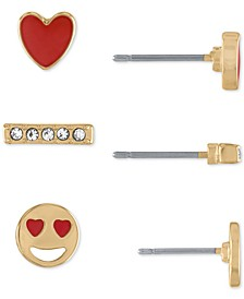 Gold-Tone 3-Pc. Set Emoji Love Stud Earrings